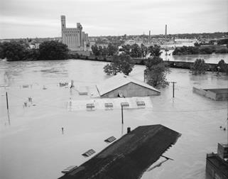 Flooded buildings in Virginia