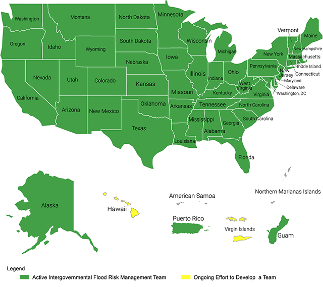 Map of Silver Jackets state teams